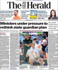 Front page Herald 1st July