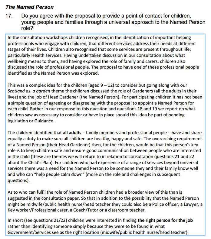 Named Person is Head Gardener_Children's Parliament CYP consultation response