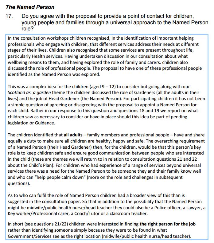 Named Person is Head Gardener_Children's Parliament CYP consultation response